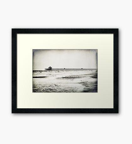 Folly Beach at Dusk in Black and White Framed Print