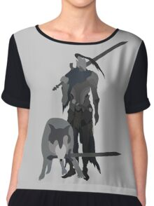 Knight Artorias and the grey wolf Sif Chiffon Top