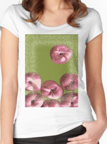 Peaches in green background Women's Fitted Scoop T-Shirt