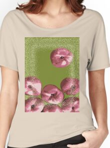 Peaches in green background Women's Relaxed Fit T-Shirt