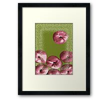 Peaches in green background Framed Print