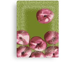 Peaches in green background Canvas Print