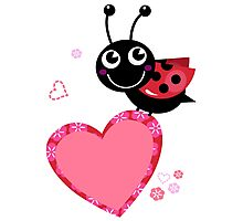 Happy cute Ladybug with Valentines heart Photographic Print