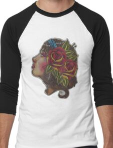 Gypsy Girl, Tattoo Style  Men's Baseball ¾ T-Shirt