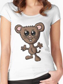 Cute Mouse Cartoon  Women's Fitted Scoop T-Shirt