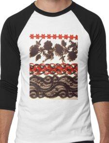 Red & Black Lace Trims Men's Baseball ¾ T-Shirt