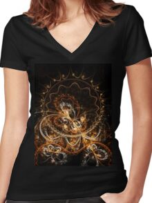 Butterfly - Abstract Fractal Artwork Women's Fitted V-Neck T-Shirt