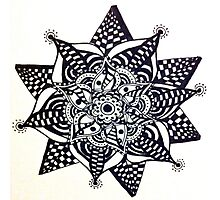 Black Flower Pattern 2 Photographic Print