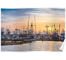 Sunset at the Westport Marina Poster