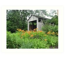 Flowers, Trees and a Covered Bridge Art Print