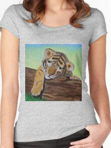 Sleepy Tiger Cub Women's Fitted Scoop T-Shirt
