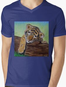 Sleepy Tiger Cub Mens V-Neck T-Shirt