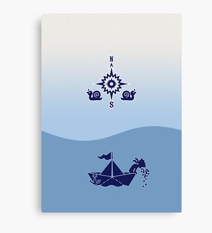 Wind Rose flanked by Snails VRS2 Canvas Print