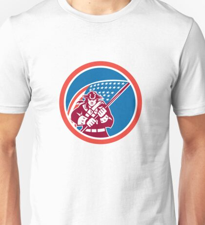 American Patriot Holding Flag Circle  Unisex T-Shirt