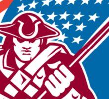 American Patriot Holding Flag Circle  Sticker