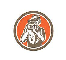 Cameraman Holding Movie Video Camera Circle by patrimonio