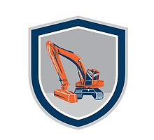Mechanical Digger Excavator Retro Shield by patrimonio