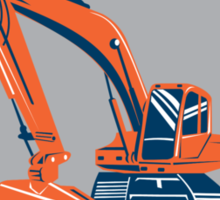 Mechanical Digger Excavator Retro Shield Sticker