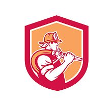 Fireman Firefighter Holding Fire Hose Shoulder Shield by patrimonio