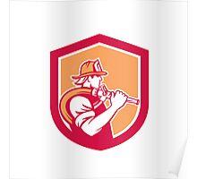Fireman Firefighter Holding Fire Hose Shoulder Shield Poster