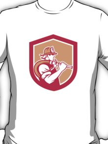 Fireman Firefighter Holding Fire Hose Shoulder Shield T-Shirt