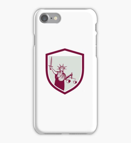 Statue of Liberty Holding Sword Scales Justice Shield iPhone Case/Skin
