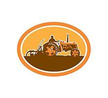 Farmer Driving Vintage Farm Tractor Oval Retro by patrimonio