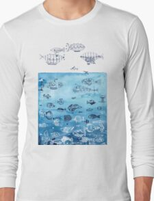 Steampunk Ships and Ocean Fishes Long Sleeve T-Shirt