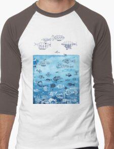 Steampunk Ships and Ocean Fishes Men's Baseball ¾ T-Shirt