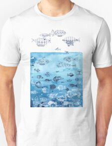 Steampunk Ships and Ocean Fishes Unisex T-Shirt