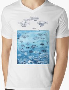 Steampunk Ships and Ocean Fishes Mens V-Neck T-Shirt