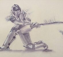 Women's Cricketer  by Paulette Farrell