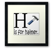 Funny Alphabet: H is for Hammer Framed Print