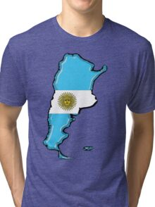 Argentina Map with Argentinian Flag Tri-blend T-Shirt