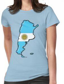 Argentina Map with Argentinian Flag Womens Fitted T-Shirt
