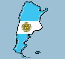Argentina Map with Argentinian Flag Unisex T-Shirt