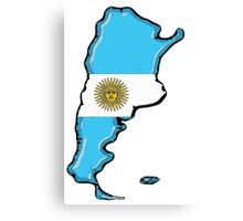 Argentina Map with Argentinian Flag Canvas Print
