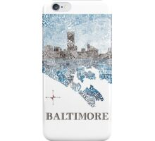 Baltimore City Skyline Neighborhood Map iPhone Case/Skin