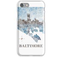 Baltimore City Skyline Neighborhood Map iPhone Case/Skin