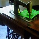 Sewing Machine With Green Cloth by Susan Savad