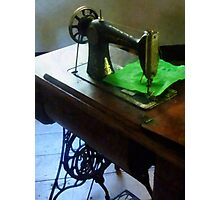Sewing Machine With Green Cloth Photographic Print