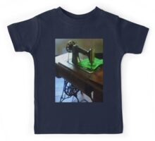 Sewing Machine With Green Cloth Kids Tee