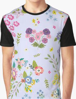 Garden Floral On Powder Blue Graphic T-Shirt