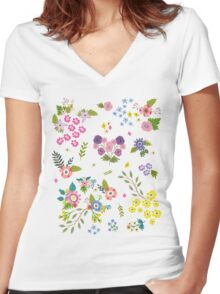 Garden Floral On White Women's Fitted V-Neck T-Shirt