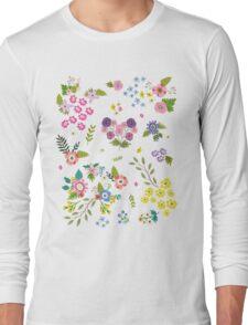 Garden Floral On White Long Sleeve T-Shirt