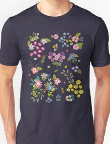 Garden Floral On White Unisex T-Shirt