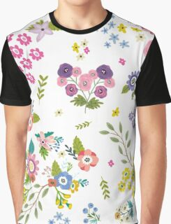 Garden Floral On White Graphic T-Shirt