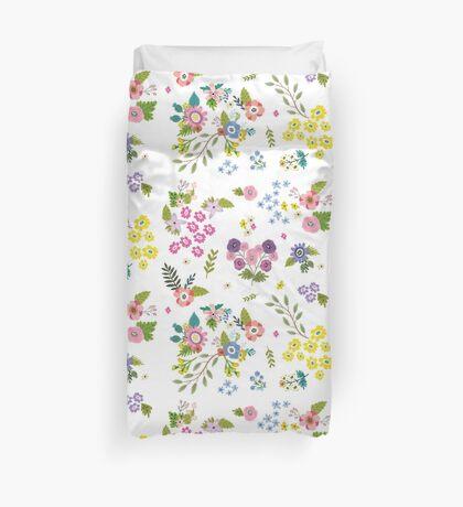 Garden Floral On White Duvet Cover