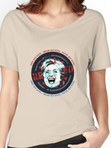 Hillary Rejected - See No Evil, Hear No Evil, Vote No Evil (Blue & Red) Women's Relaxed Fit T-Shirt