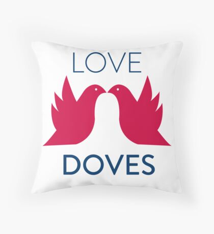Love Doves Red Throw Pillow